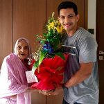 Aditya Narayan with his Grandmother
