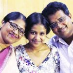 Ananya Maity with her parents