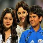 Anjali Tendulkar with her son and daughter