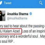 Anushka Sharma tweet on APJ Abdul Kalam