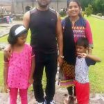 Atul B Tapkir with his wife and children