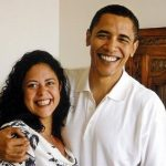 Barack Obama with his younger half-sister Maya