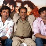 Dharmendra With His Sons Sunny Deol (Right) and Bobby Deol (Left)