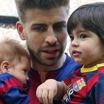 Gerard pique with his children Milan and Shasa