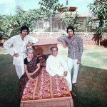 Harivansh Rai Bachchan with his wife and two sons Amitabh (left) and Ajitabh (Right)