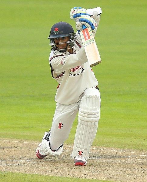 Haseeb Hameed batting for Lancashire