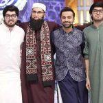 Junaid Jamshed with his sons Taimur Junaid, Babur Junaid and Journalist, Waseem Badami