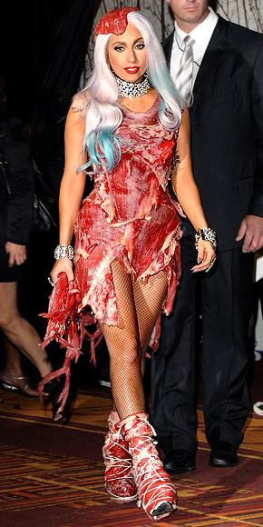 Lady Gaga wearing the meat dress