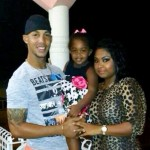Lendl Simmons with his wife and daughter