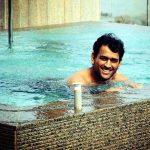 MS Dhoni swimming pool