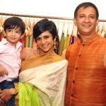Mandira Bedi with her husband and son