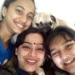 Mahesh Manjrekar wife Medha Manjrekar, step-daughter Gauri Ingawale (left), and daughter Saiee Manjrekar (right)