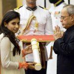 Mithali Raj receiving Padma Shri