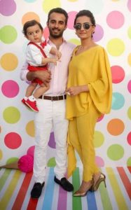 Momal Sheikh with her husband and son