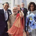 Narendra Modi with Barack Obama and Michelle Obama