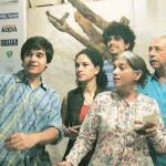 Ratna Pathak with her husband and children