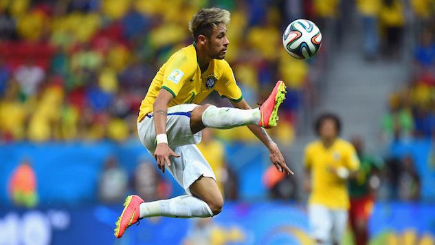 Neymar in air in action with the ball !
