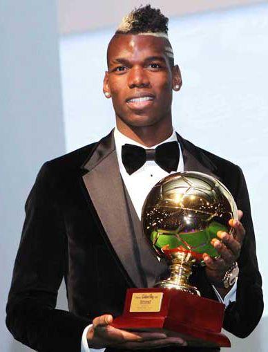 Paul Pogba with the Golden Boy Award