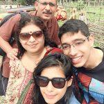 Pranati Rai Prakash with her parents and younger brother