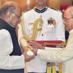 President Pranab Mukherjee honours NCP President Sharad Pawar with Padma Vibhushan during Padma Awards 2017