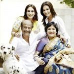Rajinikanth with his wife and daughters