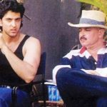 Rakesh Roshan with Hrithik Roshan during the filming of Kaho Naa Pyaar Hai