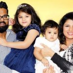 Rambha with her husband and daughters