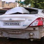 Rega Sindhu accident car Nissan Sunny