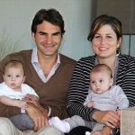 Roger Federer and wife with twin sons