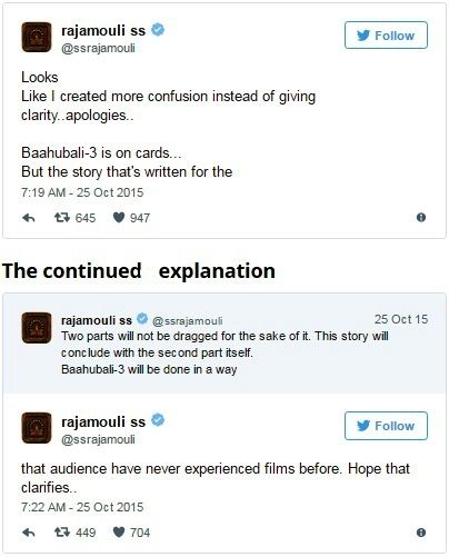 S.S. Rajamouli tweets reguarding Bahubali 3