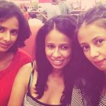 Trimala Adhikari with her sisters Atrie (left) and Kratika (right)