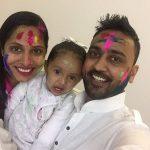 Shruti Anand with her daughter Ana & husband Arjun