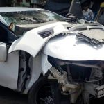 Sonika Chauhan car after accident