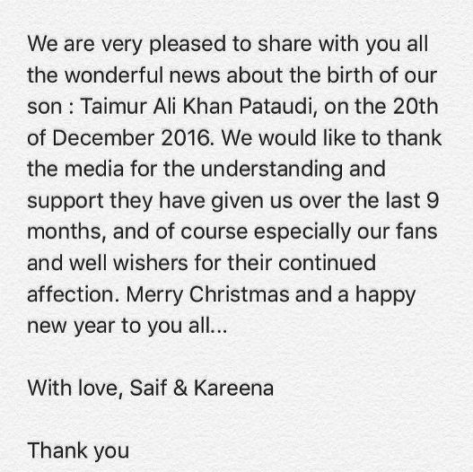 Taimur Ali Khan birth news