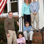 Tim Kaine with his wife and children