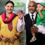 Vinod Kambli with his 2nd wife Andrea Hewitt and son