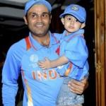 Virender Sehwag with his son Aryavir