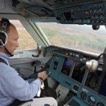 Vladimir Putin co-piloting a plane