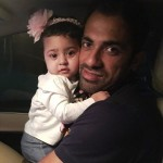 Wahab Riaz with his daughter