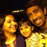 Wriddhiman Saha with wife Debarati and daughter Anvi