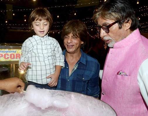 AbRam Khan with his father and Amitabh Bachchan