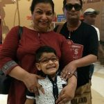 Abha Parmar with husband and grandson
