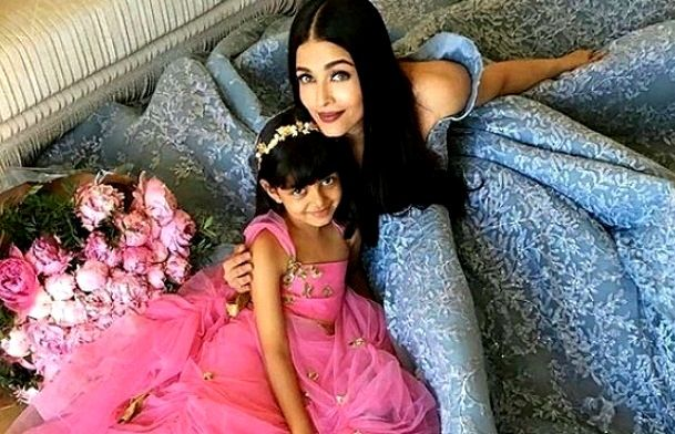 Aishwarya Rai with her daughter during cannes festival