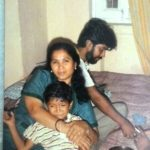 Amita Udgata with her husband and son in the 1980s