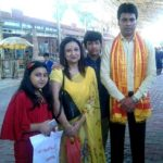 Biplab Kumar Deb with his wife and children