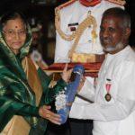 Ilaiyaraaja Receiving Padma Bhushan From Pratibha Patil The Former President of India