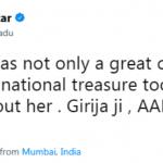 Javed Akhtar Tweet On Girija Devi Demise