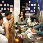 Juhi Chaturvedi on the sets of Vicky Donor