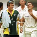 Justin Langer Scored 102 Before Retiring Hurt After He was Strucked On The Helmet By Andrew Caddick's Bouncer