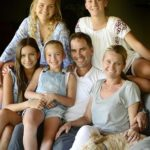 Justin Langer With His Daughters Gracie, Jess, Ali-Rose, Sophie, Wife Sue, And Dog Chilli